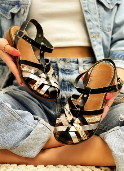 Leather sandals VEDRANA - BLACK