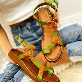 Leather sandals ANGELA - GREEN