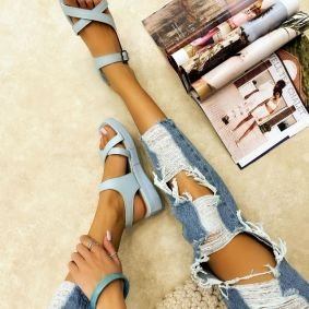 CROSS STRAP SANDALS WITH BELTS - BLUE