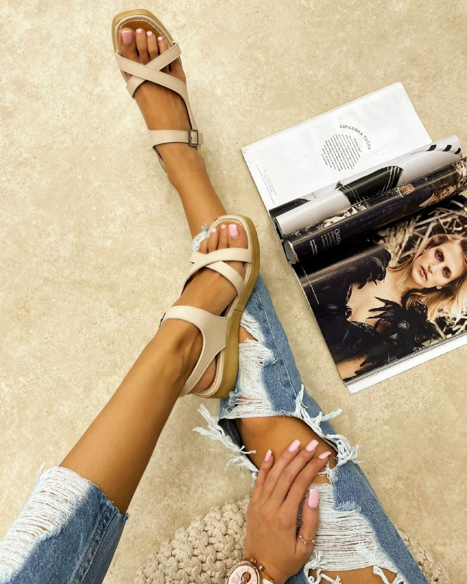 CROSS STRAP SANDALS WITH BELTS - BEIGE