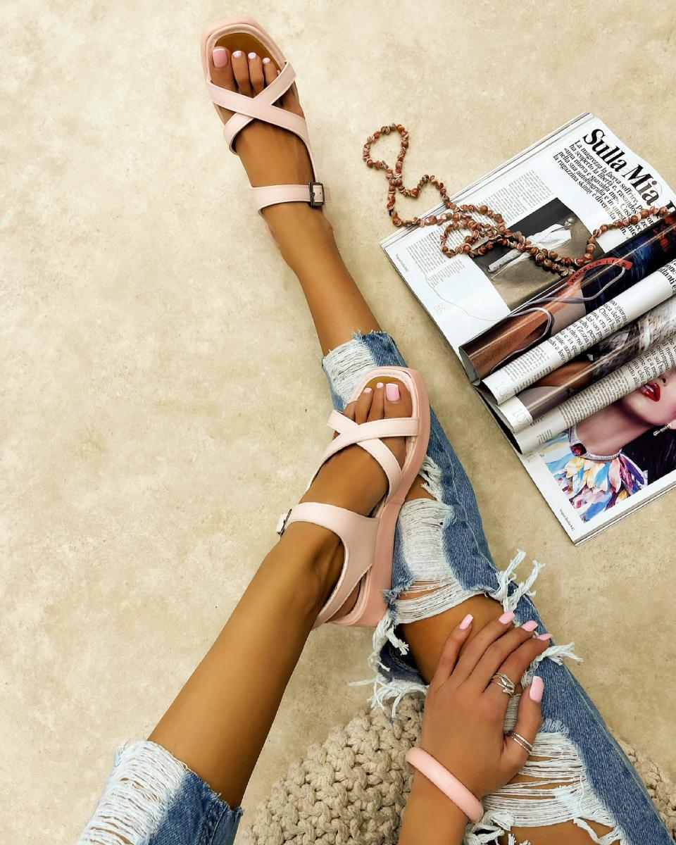 CROSS STRAP SANDALS WITH BELTS - ROSE