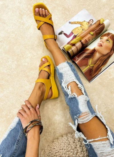 CROSS STRAP SANDALS WITH BELTS - YELLOW