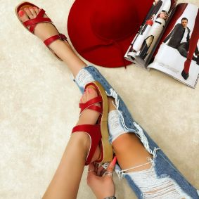 CROSS STRAP SANDALS WITH BELTS - RED