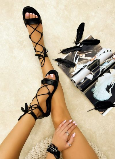 Leather sandals ALJA - BLACK