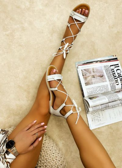 Leather sandals ALJA - WHITE