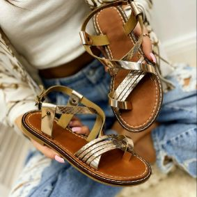 Leather sandals AGNES - BRONZE