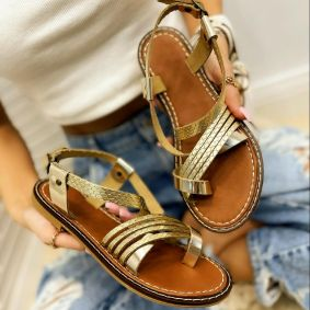 Leather sandals AGNES - GOLD