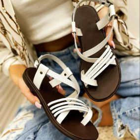 Leather sandals AGNES - WHITE