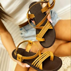 Leather sandals AGNES - CAMEL