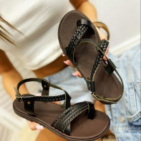 Leather sandals AGNES - BLACK