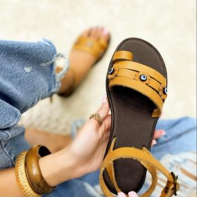 Leather sandals AGATHA  - CAMEL