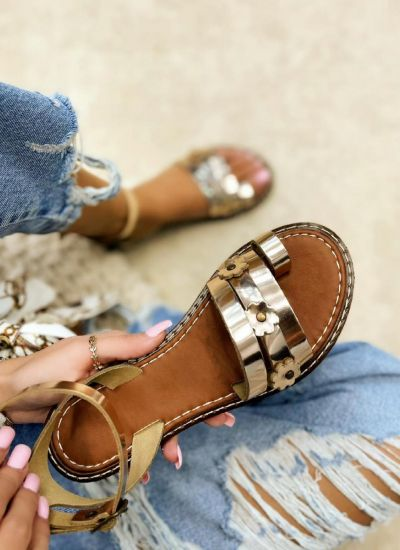 Leather sandals AGATHA - GOLD