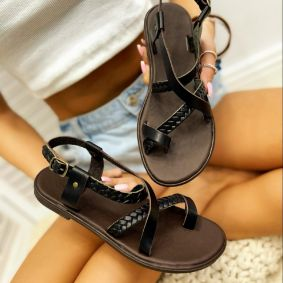 Leather sandals ELVIRA - BLACK