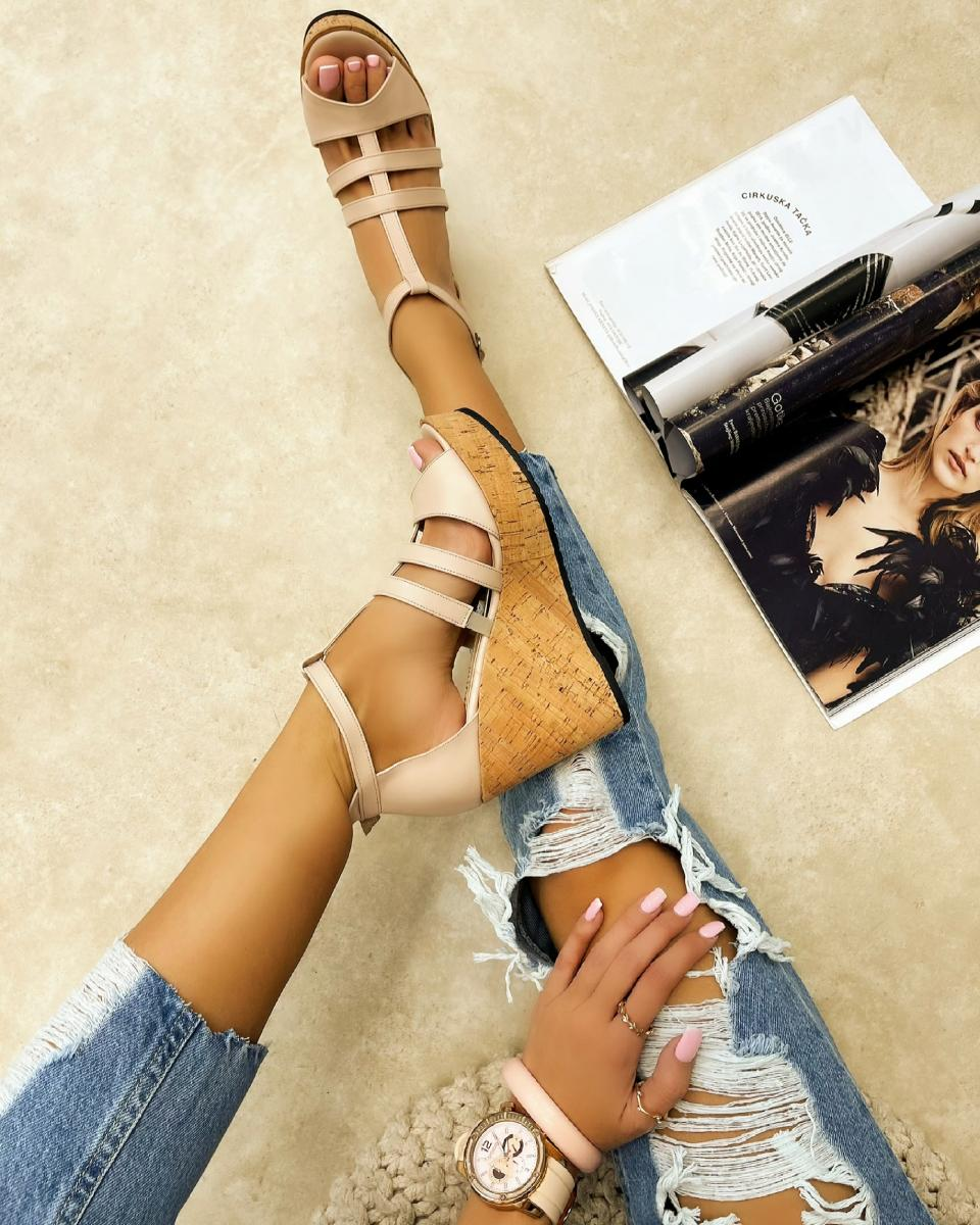 WEDGE SANDALS WITH BELTS - POWDER ROSE