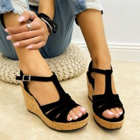 PLUSH WEDGE SANDALS WITH BELTS - BLACK