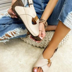 Leather sandals MARGARITA - BEIGE