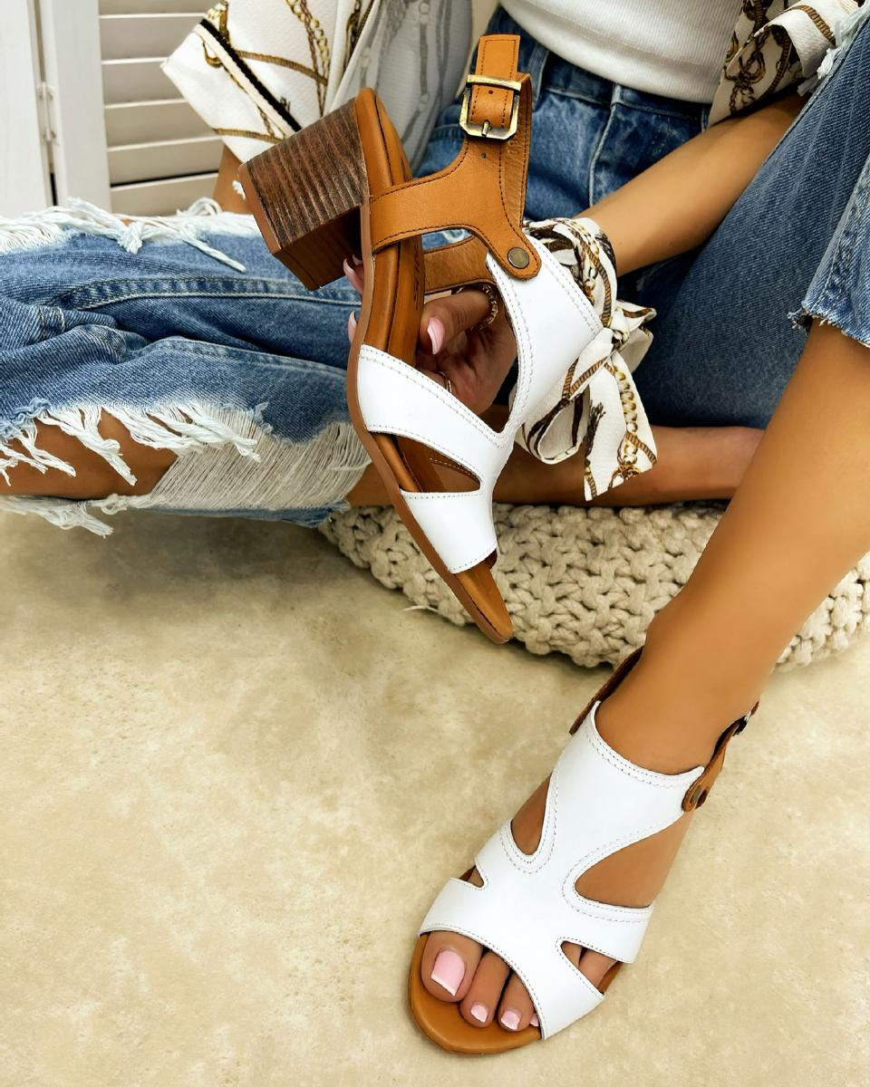LEATHER THICK HEEL SANDALS - WHITE