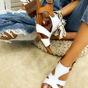 Leather high-heels ELIDA - WHITE
