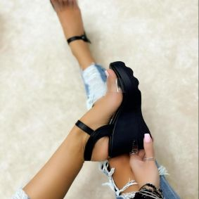 WEDGE SANDALS WITH TRANSPARENT BELT - BLACK