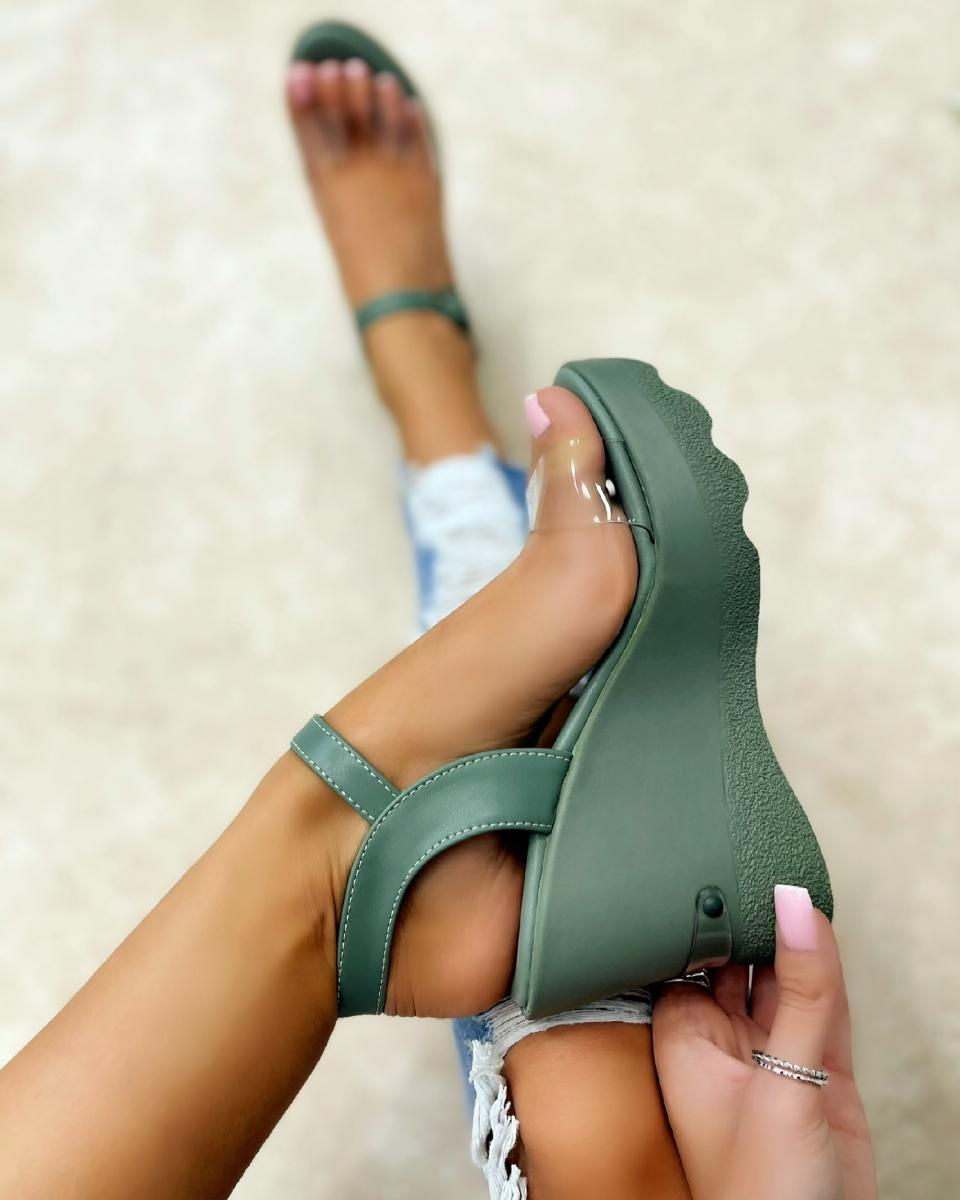 WEDGE SANDALS WITH TRANSPARENT BELT - GREEN