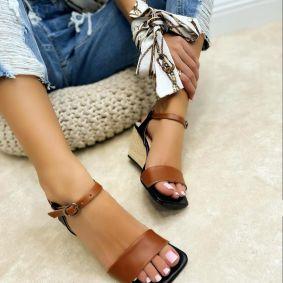 WEDGE JUTA SANDALS - BLACK