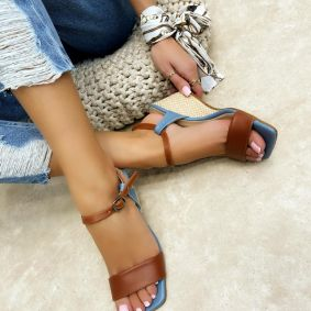 WEDGE JUTA SANDALS - BLUE