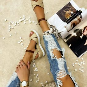 CROSS STRAP WEDGE SANDALS - BEIGE