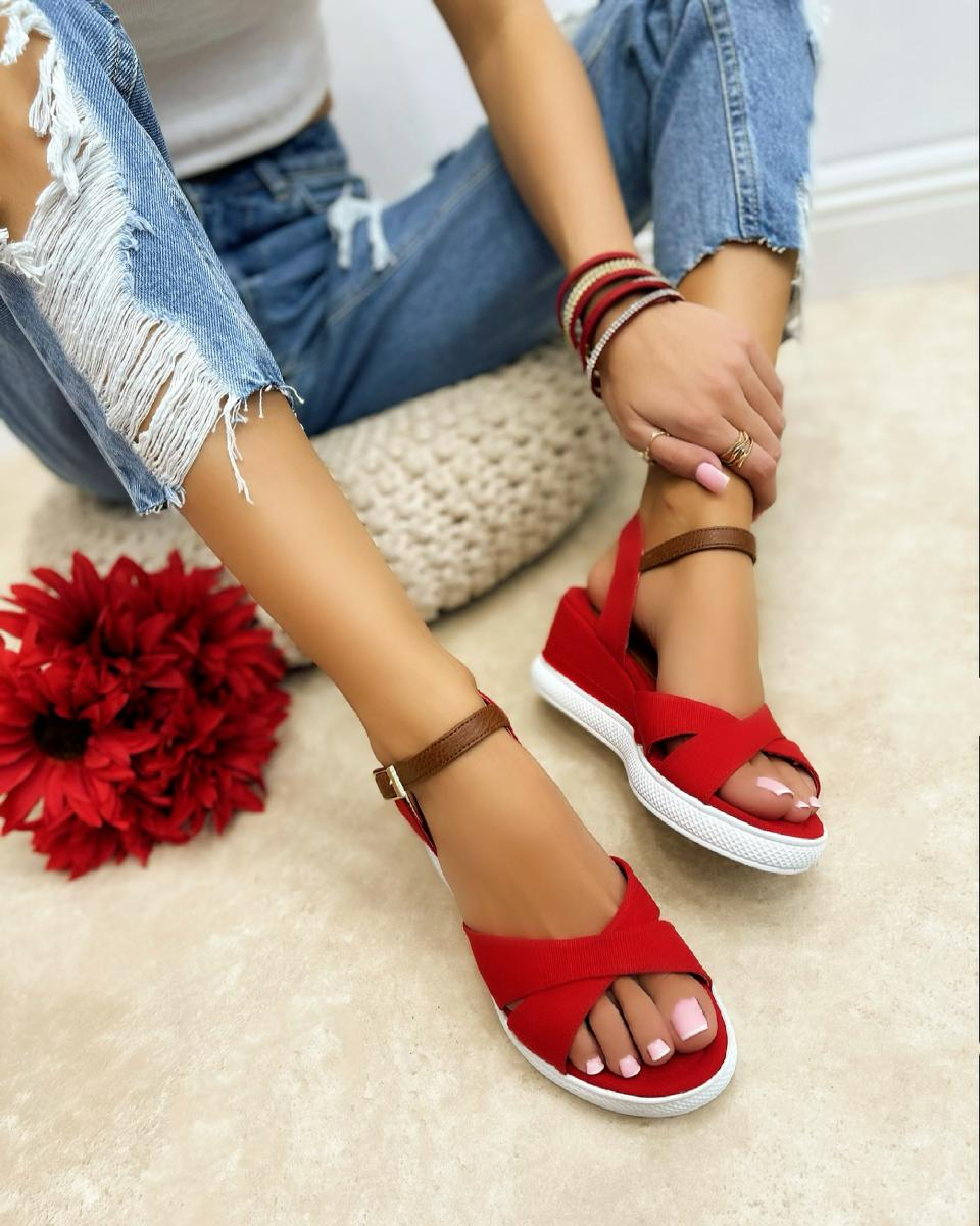 CROSS STRAP WEDGE SANDALS - RED