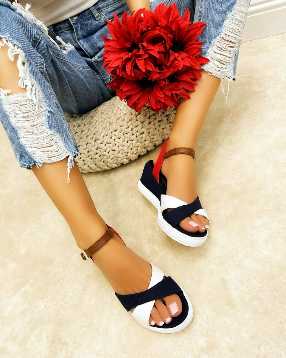 CROSS STRAP WEDGE SANDALS - NAVY BLUE