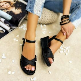 CROSS STRAP WEDGE SANDALS - BLACK