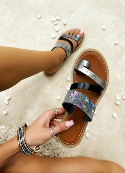 Leather slippers ILONA - SILVER