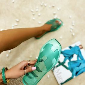 FLAT TRANSPARENT SLIPPERS - GREEN