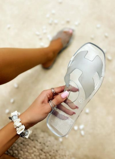 FLAT TRANSPARENT SLIPPERS - WHITE
