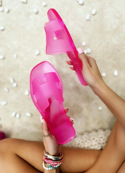 FLAT TRANSPARENT SLIPPERS - PINK
