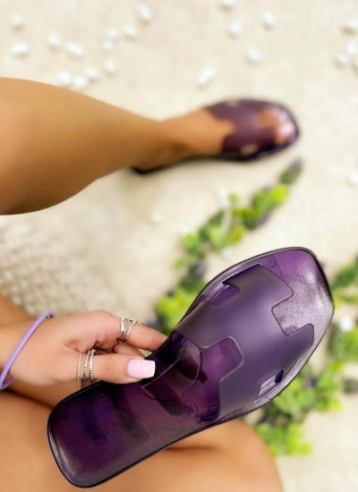 FLAT TRANSPARENT SLIPPERS - PURPLE