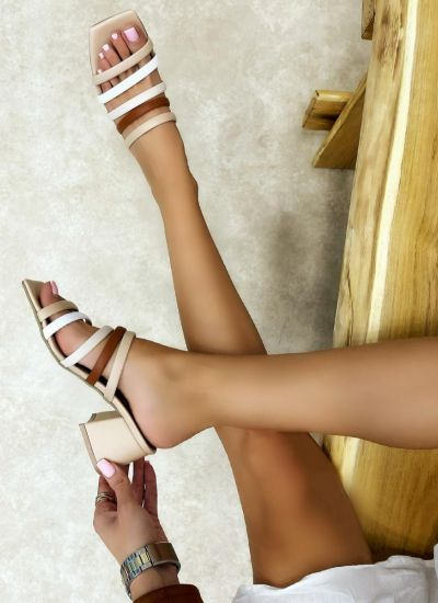 MULES WITH BLOCK HEEL AND BELTS - BEIGE