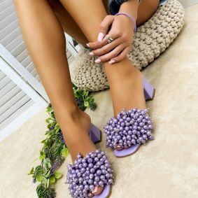 BLOCK HEEL MULES WITH PEARLS - PURPLE