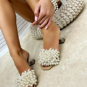 BLOCK HEEL MULES WITH PEARLS - BEIGE