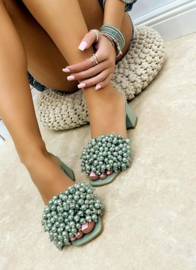 BLOCK HEEL MULES WITH PEARLS - GREEN