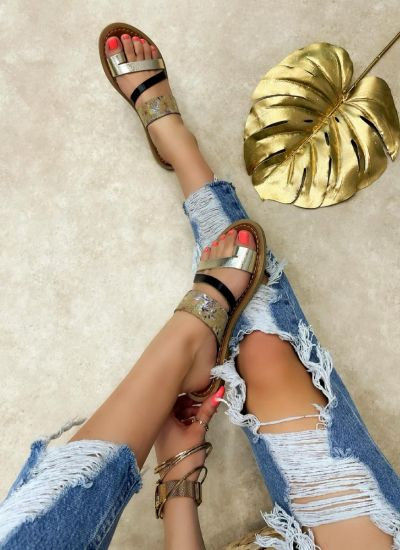 Leather slippers ILONA - GOLD