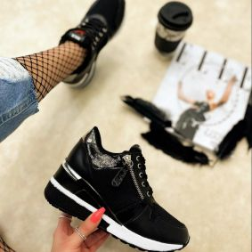 HIDDEN HEEL SNEAKERS - BLACK