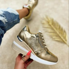 CROC PRINT HIDDEN HEEL SNEAKERS - GOLD