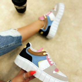 SNEAKERS WITH HIGH SOLE - WHITE/ROSE