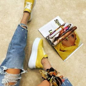 HIDDEN HEEL SNEAKERS - YELLOW