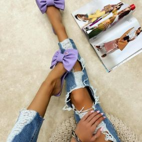 FLAT MULES WITH BOW - PURPLE