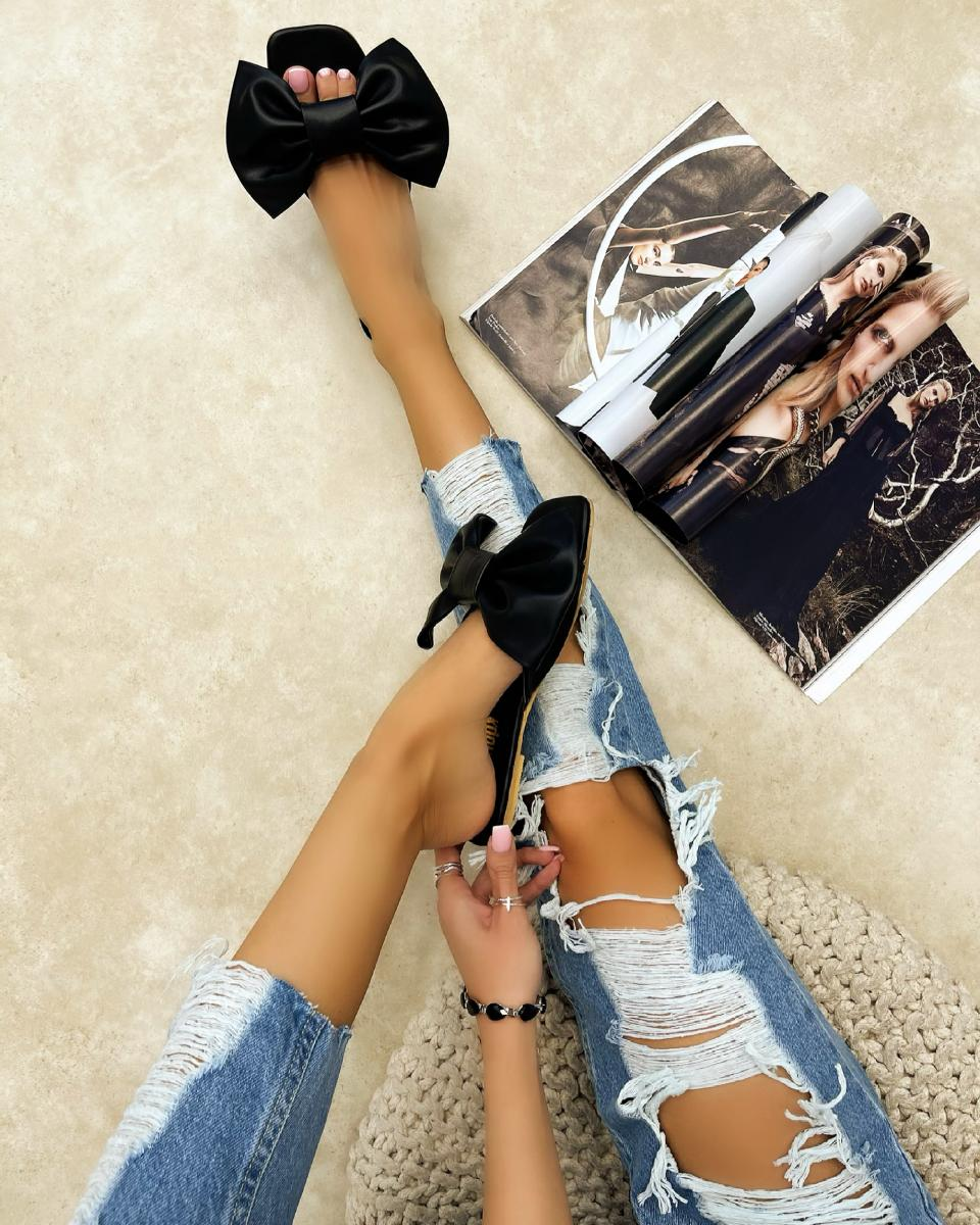 FLAT MULES WITH BOW - BLACK