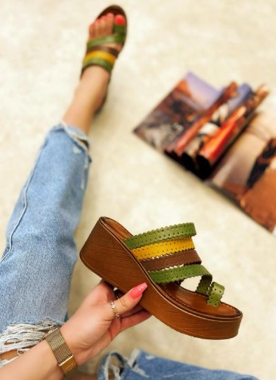 Leather slippers MARCELA - GREEN