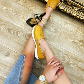 Flat leather shoes HELENA - YELLOW