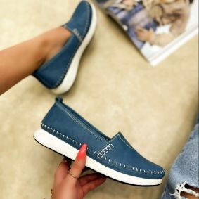 Flat leather shoes HELENA - BLUE
