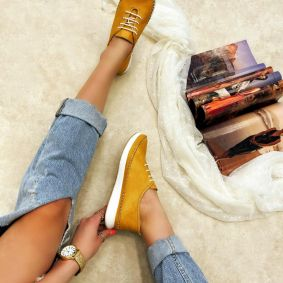 Flat leather shoes HRISTINA - YELLOW